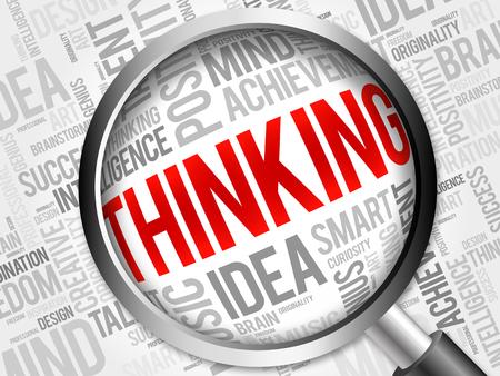 positivismo: Pensando en la nube de palabra con la lupa, el concepto de fondo Foto de archivo