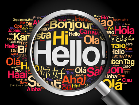 Hallo Wortwolke in verschiedenen Sprachen der Welt mit Lupe, Hintergrund-Konzept Standard-Bild - 51704967