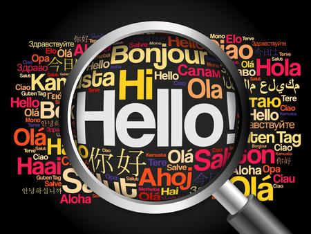 Hola nube de palabras en diferentes idiomas del mundo con lupa, el concepto de fondo Foto de archivo