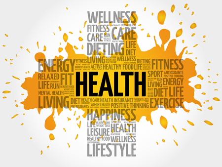 care providers: Health word cloud, health cross concept