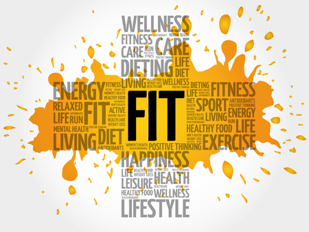 fit: FIT word cloud, health cross concept