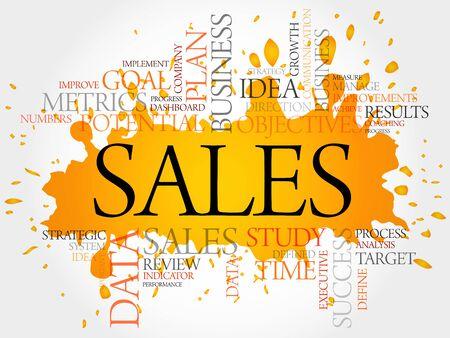 cohesive: Sales word cloud, business concept Illustration