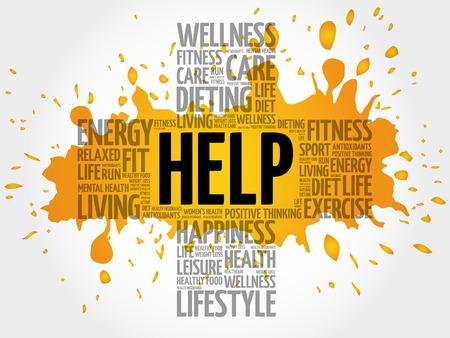 noticeable: HELP word cloud, health cross concept