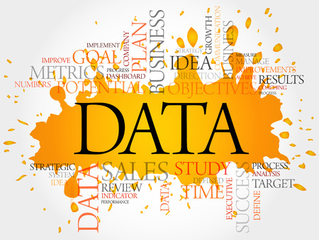 Data word cloud, business concept Çizim