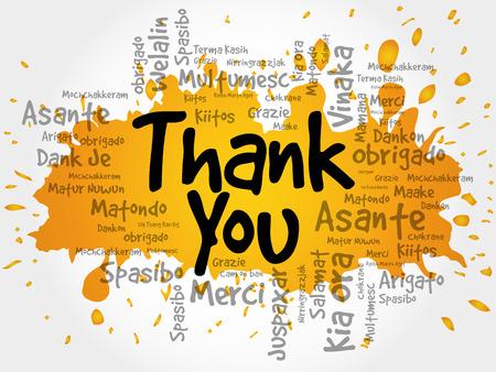 Dank u Word Cloud in verschillende talen, vector achtergrond