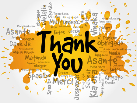 Thank You Word Cloud in different languages, vector background