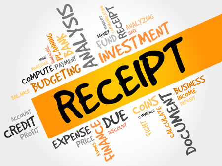 checking accounts: RECEIPT word cloud, business concept Illustration