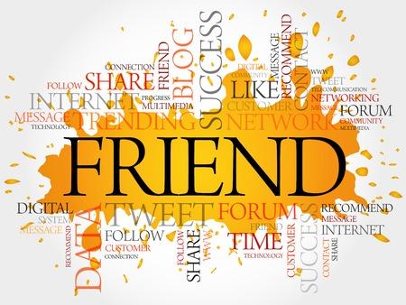 Friend word cloud, business concept