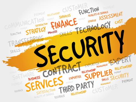 sec: Security word cloud, business concept Illustration