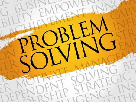 in problem: Problem solving word cloud, business concept