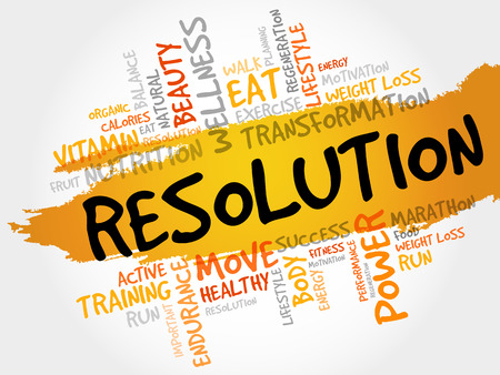 physique: RESOLUTION word cloud, fitness, sport, health concept Illustration
