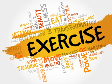 feel good: EXERCISE word cloud, fitness, sport, health concept