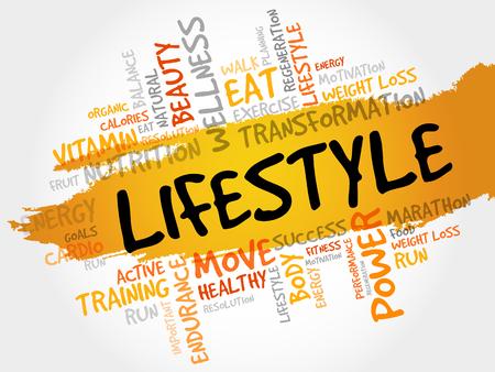 라이프 스타일 단어 구름, 피트니스, 스포츠, 건강 개념