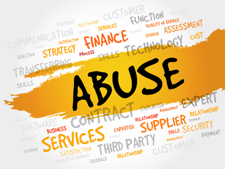outrage: Abuse word cloud, business concept Illustration