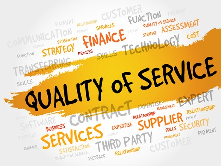 consumer society: Quality of Service word cloud, business concept