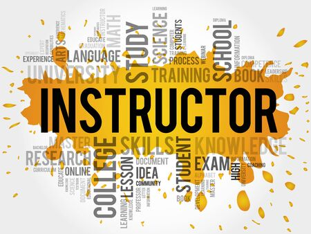 the instructor: INSTRUCTOR word cloud, education concept