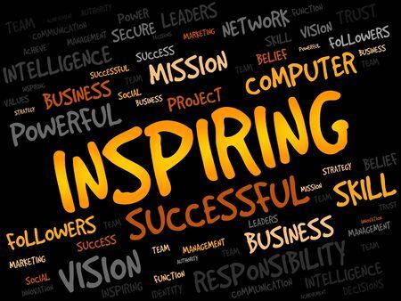 leadership key: INSPIRING word cloud, business concept