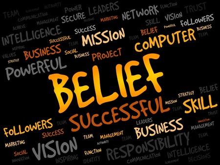 powerful creativity: BELIEF word cloud, business concept