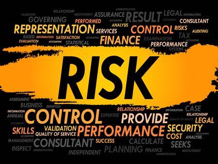 hidden success: RISK word cloud, business concept