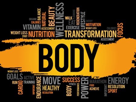 therapeutic: BODY word cloud, fitness, sport, health concept
