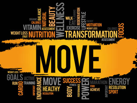 move: MOVE word cloud, fitness, sport, health concept