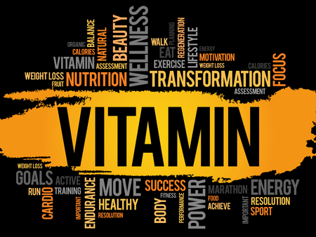 chain food: VITAMIN word cloud, fitness, sport, health concept