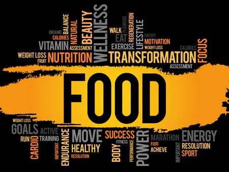 食べ物の単語の雲、フィットネス、スポーツ、健康の概念