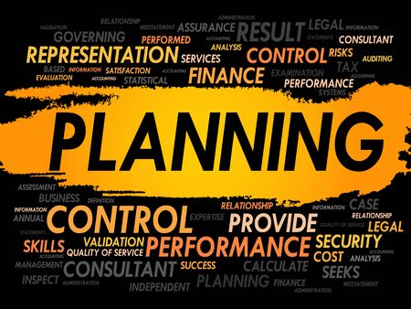 allocation: PLANNING word cloud, business concept Illustration