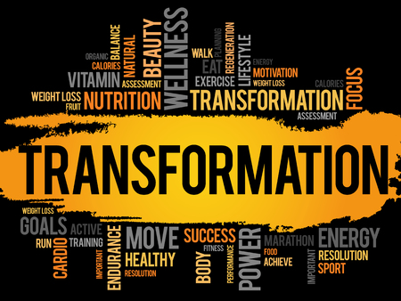 TRANSFORMATION word cloud, fitness, sport, health concept Stock Illustratie