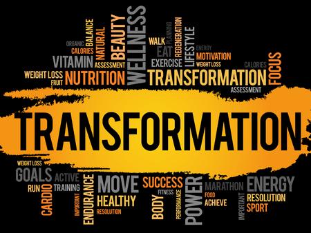 TRANSFORMATION word cloud, fitness, sport, health concept Illustration