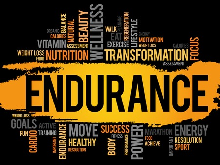 ENDURANCE woordwolk, fitness, sport, gezondheid concept