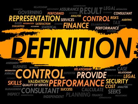 definicion: DEFINICIÓN nube de la palabra, concepto de negocio Vectores
