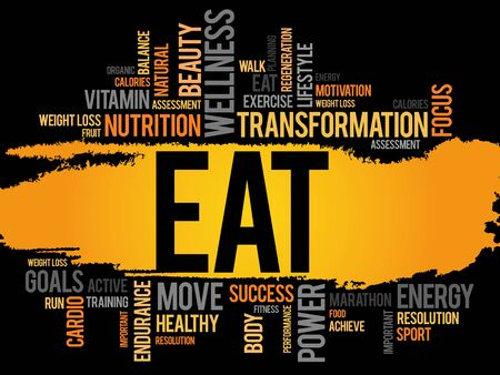 increase fruit: EAT word cloud, fitness, sport, health concept Illustration