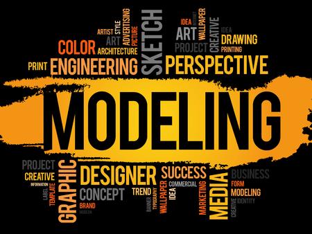 modeling: MODELING word cloud, business concept Illustration