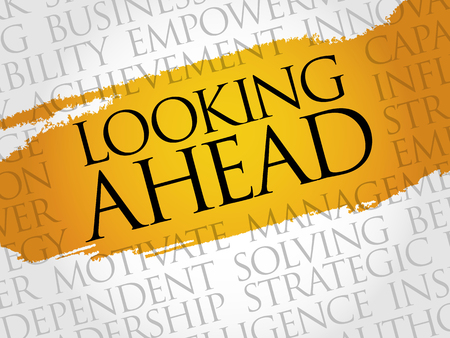 estimating: Looking ahead word cloud, business concept