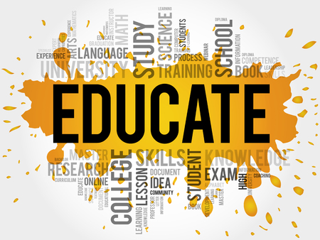 ability to speak: EDUCATE. Word education collage