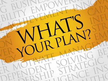 What's Your Plan word cloud, business concept Illusztráció