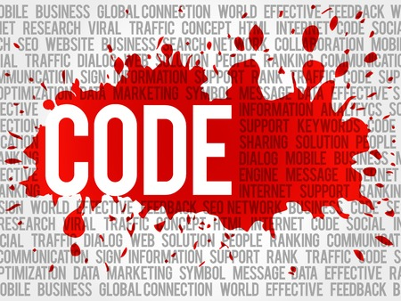 meta tags: Code word cloud, business concept background Illustration