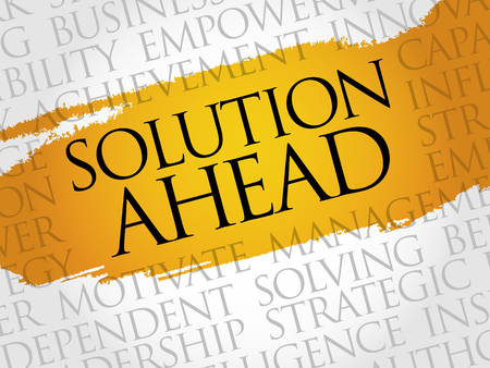 ahead: Solution ahead word cloud, business concept Illustration