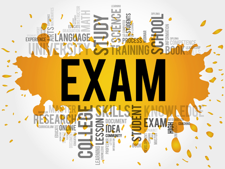 extramural: EXAM. Word education collage