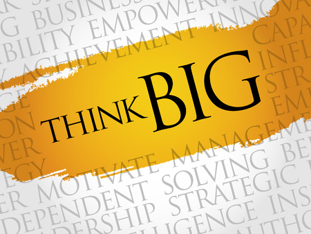 surpassing: Think Big word cloud, business concept