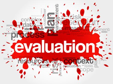 Evaluatie woordwolk, business concept