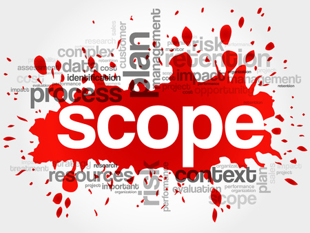 scope: SCOPE word cloud, business concept Illustration