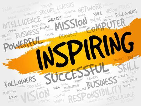 inspiring: INSPIRING word cloud, business concept
