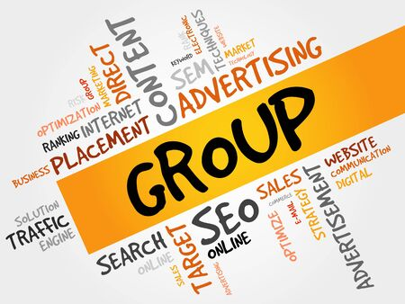 powerful creativity: GROUP word cloud, business concept Illustration