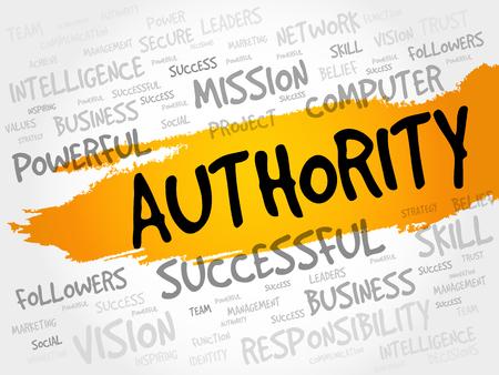 autoridad: AUTORIDAD nube de la palabra, concepto de negocio