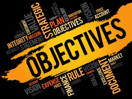 Objetivos nube de la palabra, concepto de negocio