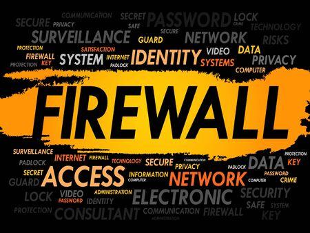 trojanhorse: FIREWALL word cloud, security concept