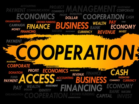 co action: COOPERATION word cloud, business concept