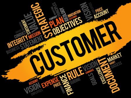 satisfied customer: Customer word cloud, business concept